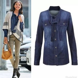 Cabi | Style 3290 Chambray Top (FLAW)